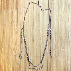 Thin & dainty silver strand & ball bead necklace